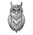 owl tattoo shape on white vector image vector image
