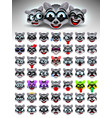 raccoon face emotions vector image vector image