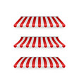 realistic set striped red and white awnings vector image vector image
