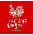 red poster of a white rooster isolated on red vector image