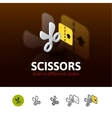 Scissors icon in different style vector image vector image