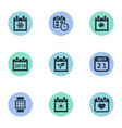 set of simple date icons vector image vector image