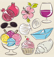set of summer symbols clams shells ice cream vector image vector image