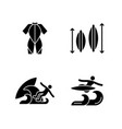 surf riding black glyph icons set on white space vector image