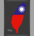 taiwan map with taiwanese national flag vector image vector image