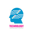 technology - human head and electronic network vector image