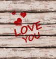 Valentines card with text love you vector image vector image