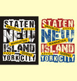vintage staten island new york vector image vector image