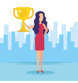 woman with trophy cup award vector image