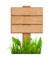 Wooden Signpost with Grass Isolated on White vector image vector image