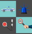 a set of icons on a police subject vector image