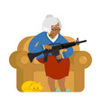 african american grandmother with gun old woman vector image vector image