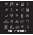 architecture editable line icons set on vector image