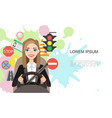 banner of businesswomen driving a car vector image