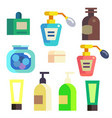 bath cosmetics in bottles and tubes icons set vector image