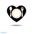 black icon of cutlery in the shape of a heart vector image vector image