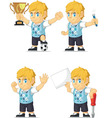 Blonde Rich Boy Customizable Mascot 19 vector image