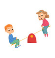 boy and girl riding seesaw kids having fun on vector image vector image