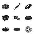 Bread set icons in black style Big collection of vector image vector image