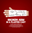 Broken Arm in a Plaster Cast vector image