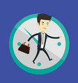 business man running on clock background vector image vector image