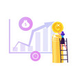 businesswoman put coin on huge pile in shape vector image vector image