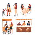 cafe and tent with counter trolley ice cream and vector image vector image