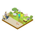 cage with sheeps isometric 3d icon vector image vector image