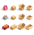 Cardboard gift boxes opened and closed 3D vector image