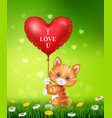cartoon cat holding red heart balloons vector image