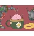 cartoon monster tea cup samovar khokhloma teapot vector image