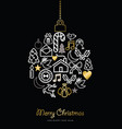 christmas and new year gold icon bauble ornament vector image vector image