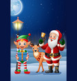 christmas background with santa deer and elf vector image vector image