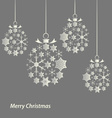 Christmas card with balls of snowflakes template vector image