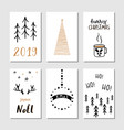 christmas hand drawn greeting cards with vector image vector image