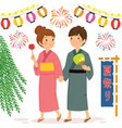 couple at japanese summer festival vector image vector image
