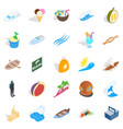 cozy beach icons set isometric style vector image vector image