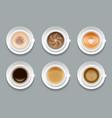 creative art coffee set vector image vector image