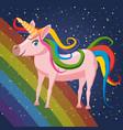 Cute cartoon unicorn on background space rainbow