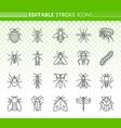 danger insect simple black line icons set vector image vector image