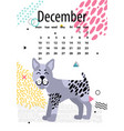 december calendar for 2018 year with bullterrier vector image vector image