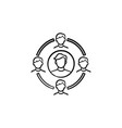 family circle hand drawn sketch icon vector image