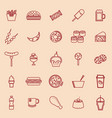 fast food line color icons on brown background vector image vector image
