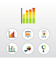 flat icon diagram set of statistic pie bar vector image