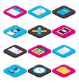 Flat School Education and Learning Isometric Icons vector image vector image
