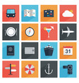 flat travel icons with long shadow tourism vector image