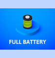 full battery isometric icon isolated on color vector image vector image