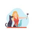 girl blogger recording video on camera with her vector image vector image