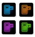 glowing neon pos terminal with inserted credit vector image