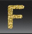 gold glittering letter f shining golden vector image